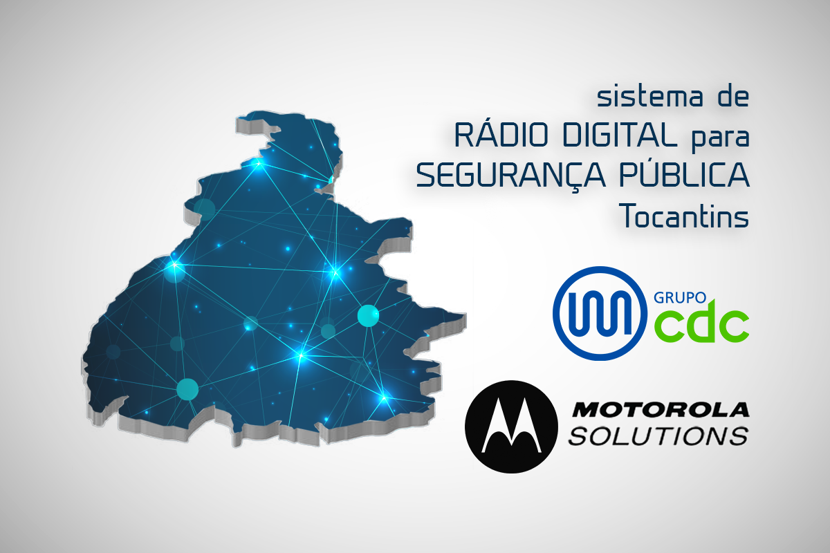 Mapa do Tocantins com uma rede conexões ilustrando um sistema de rádio digital